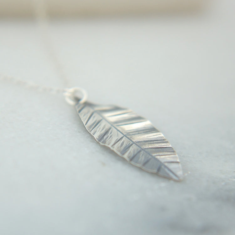 Minimal Silver Leaf Necklace