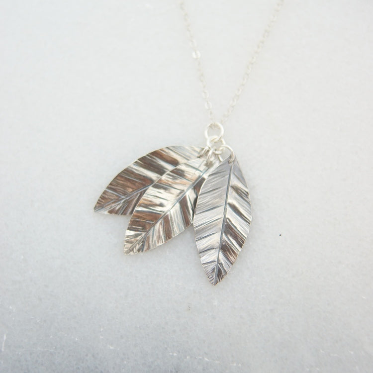 Triple Silver Leaf Necklace