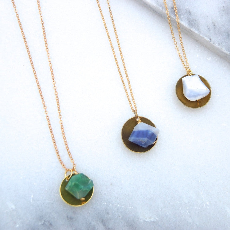 Brass Disc and Agate Necklace