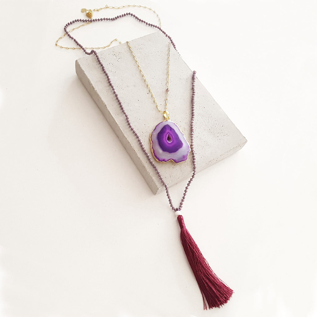 Tassel Gemstone Necklace