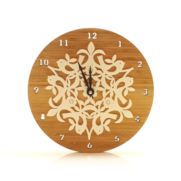 Wooden Clock - Birds in Harmony