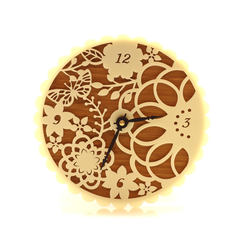 Wooden Clock - Butterflies and Flowers