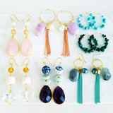 Adore Gemstone Earrings Collection - Multi-Gems Lemon Jade Ring Crystals Earrings
