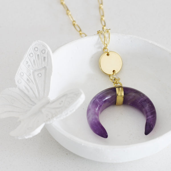 Adore Gemstone Collection - Amethyst Horn Necklace