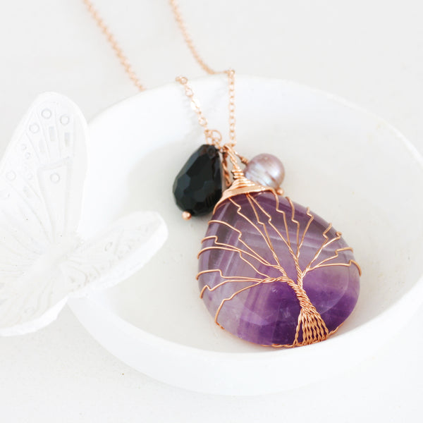 Adore Gemstone Collection - Amethyst Tree of Life Necklace