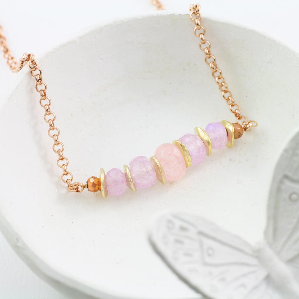 Adore Gemstone Collection - Pink and Lavender Moonstone Necklace