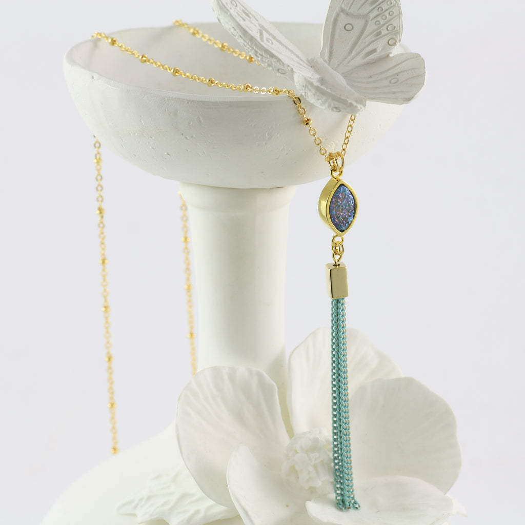 Adore Gemstone Collection - Blue Druzy Tassel Necklace