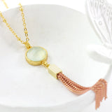 Adore Gemstone Collection - Green Chalcedony Tassel Necklace