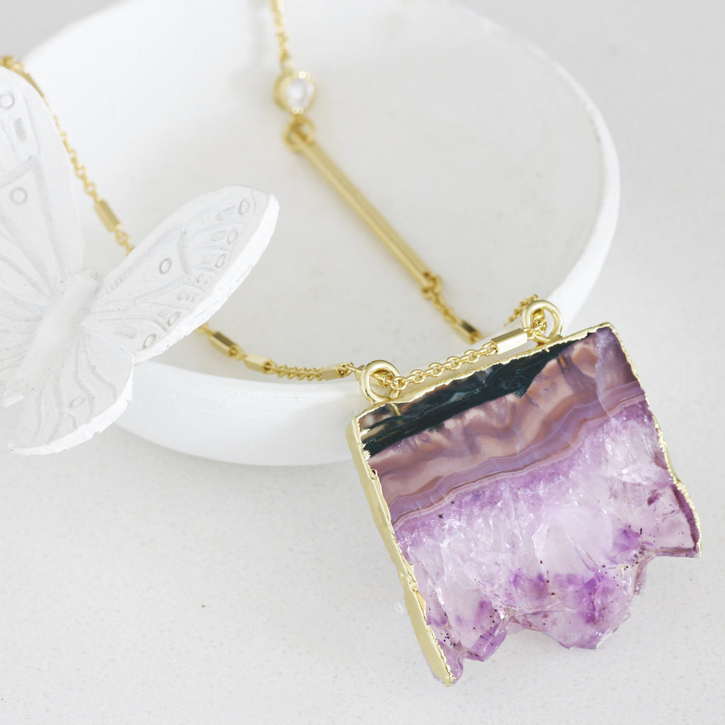 Adore Gemstone Collection - Amethyst Slab Zirconia Necklace