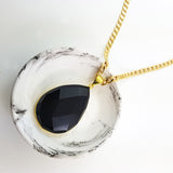 Adore Gemstone Collection - Black Obsidian Teardrop Necklace