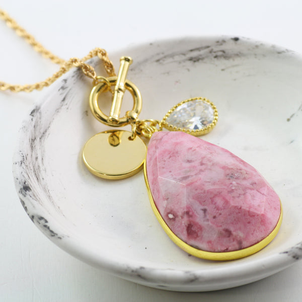 Adore Gemstone Collection - Pink Rhodonite Necklace