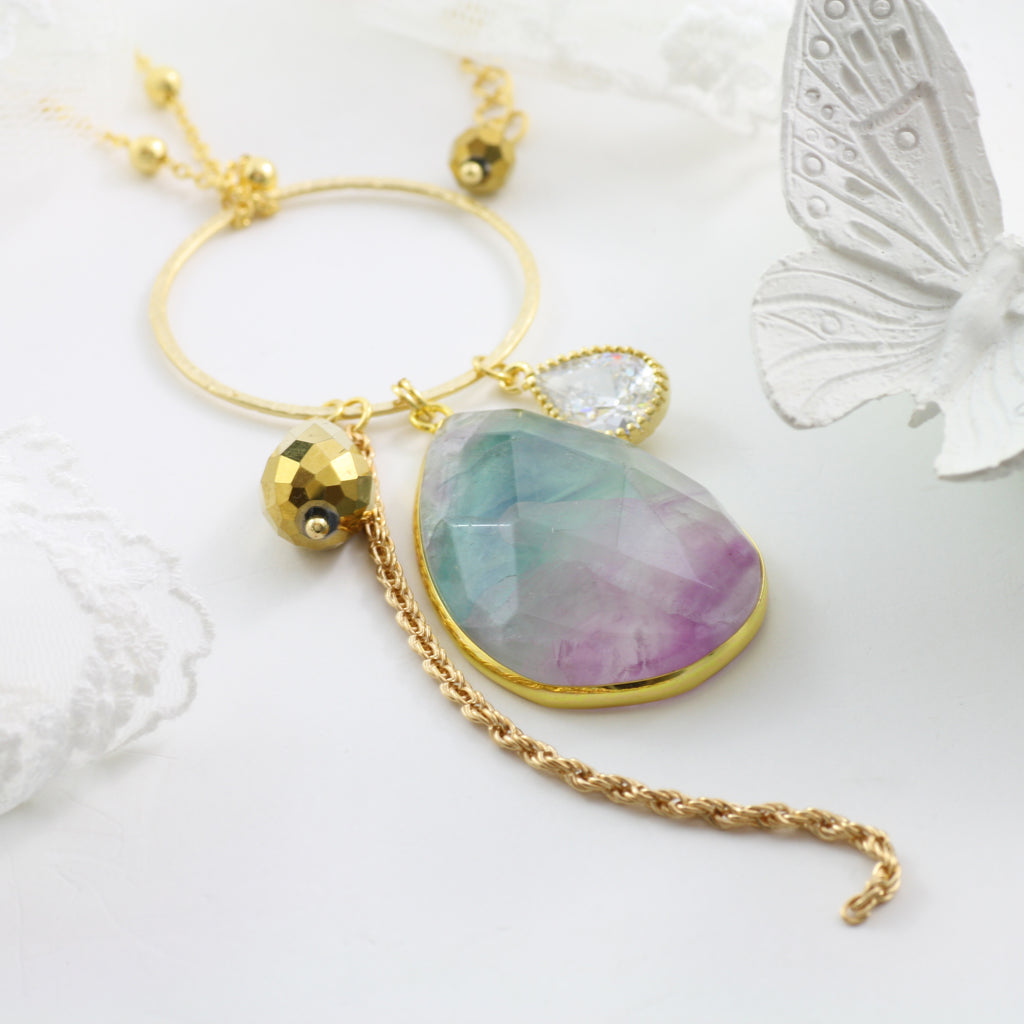 Adore Gemstone Collection - Fluorite Ring Charm Necklace