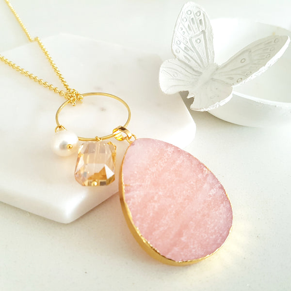 Adore Gemstone Collection - Rose Quartz Ring Charm Necklace
