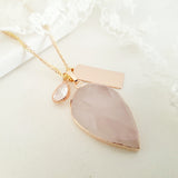 Adore Gemstone Collection - Inverse Teardrop Rose Quartz Necklace