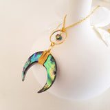 Adore Gemstone Collection - Rainbow Abalone Shell Horn Necklace