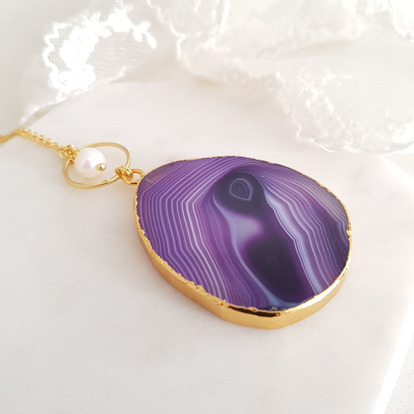 Adore Gemstone Collection - Agate Purple Waveline Necklace
