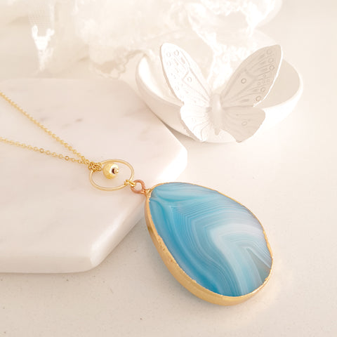 Adore Gemstone Collection - Agate Blue Waveline Necklace
