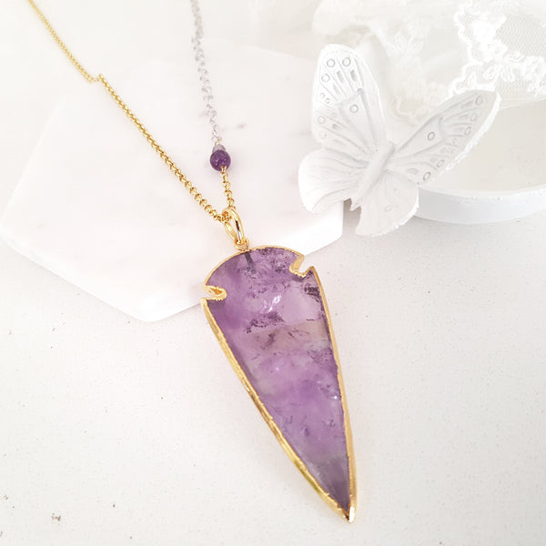 Adore Gemstone Collection - Amethyst Spearhead Necklace