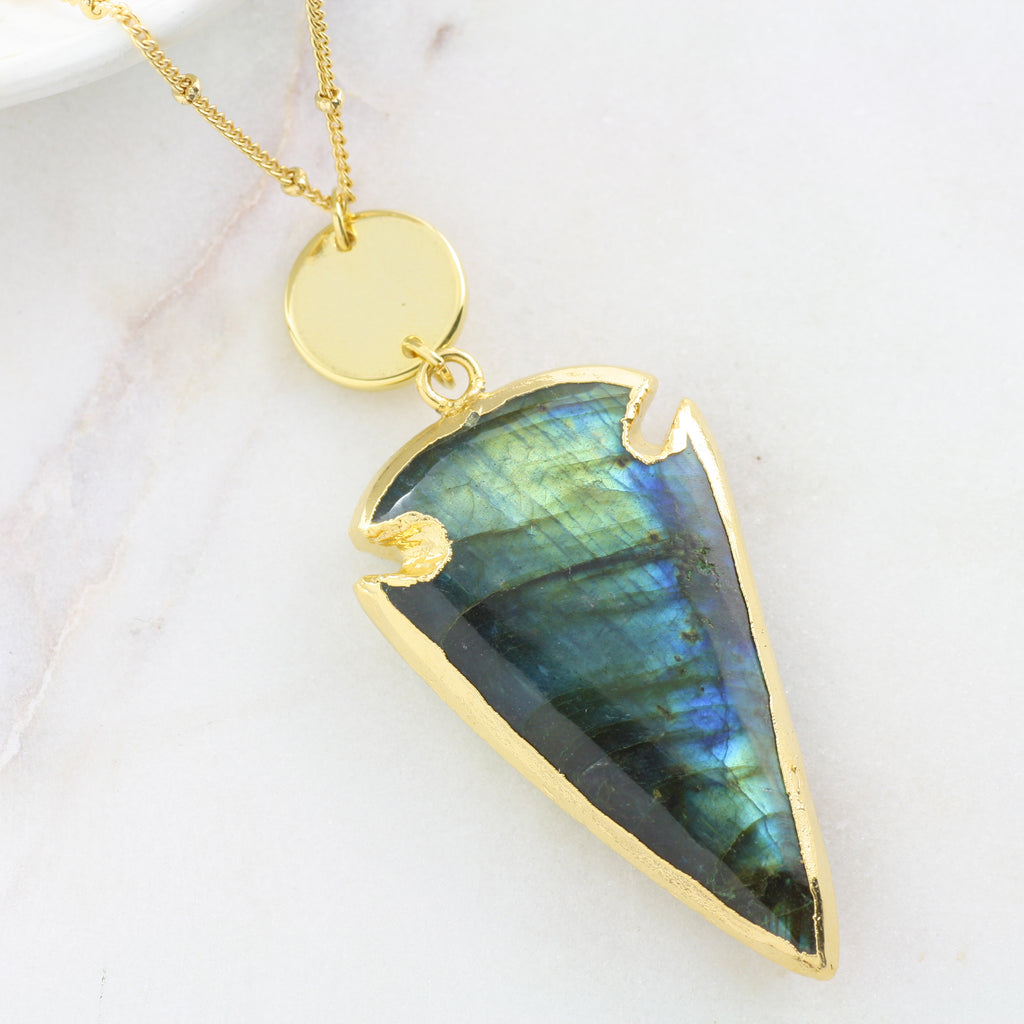 Adore Gemstone Collection - Labradorite Spearhead Gold Disc Necklace