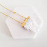 Adore Gemstone Collection - Gold-Dipped Raw Quartz Necklace
