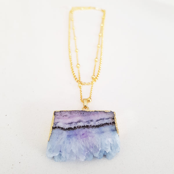 Adore Gemstone Collection - 2-Layered Blue Quartz Necklace