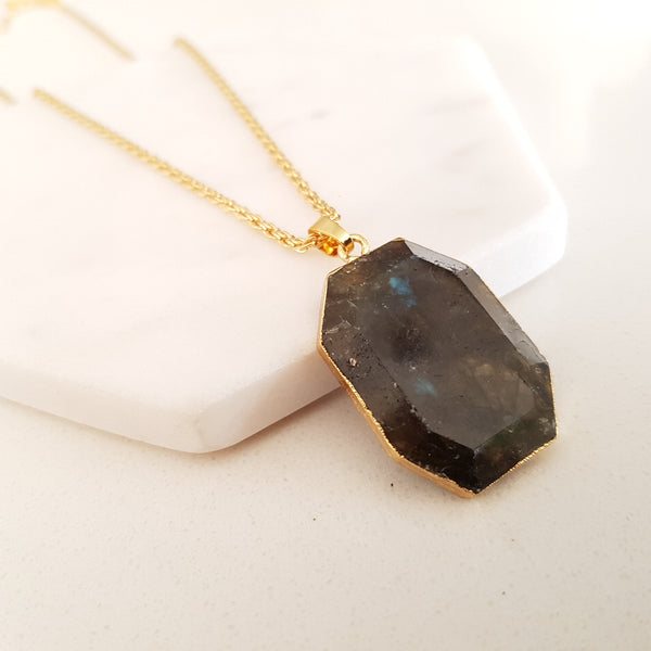 Adore Gemstone Collection - Labradorite Octagon Necklace