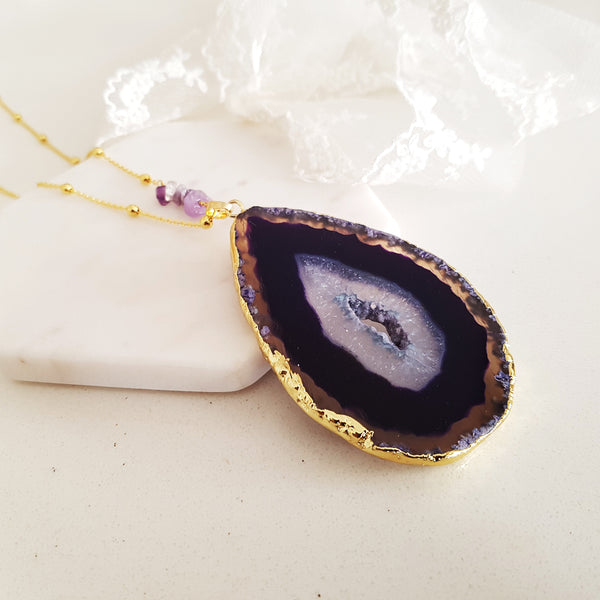 Adore Gemstone Collection - Agate Slice Purple Necklace