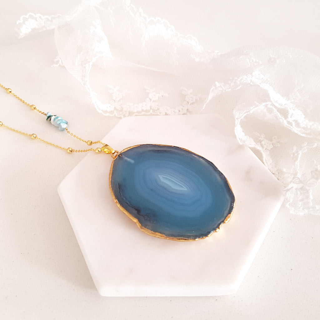 Adore Gemstone Collection - Agate Slice Blue Necklace