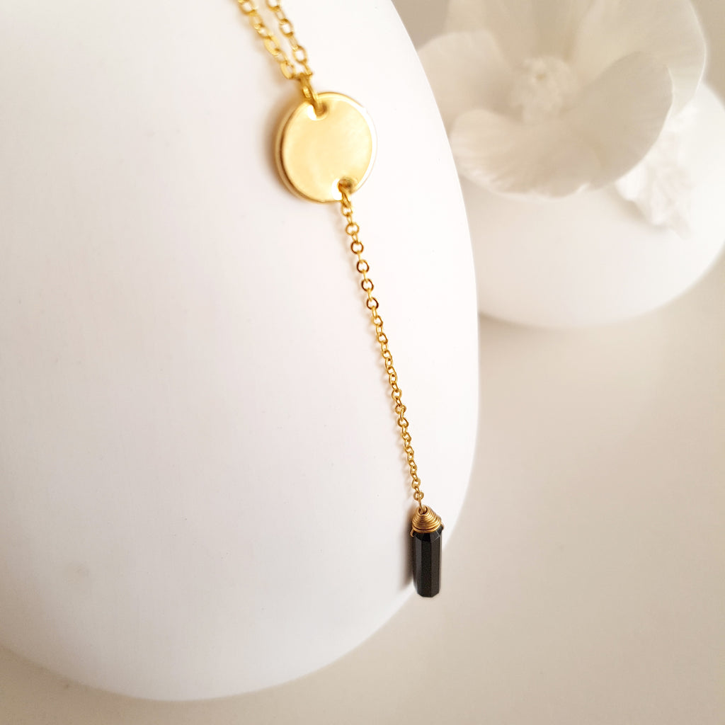 Adore Gemstone Collection - Pointed Black Onyx Necklace