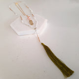 Adore Gemstone Collection - 2-Layered Green Tassel Shell Sphere Necklace
