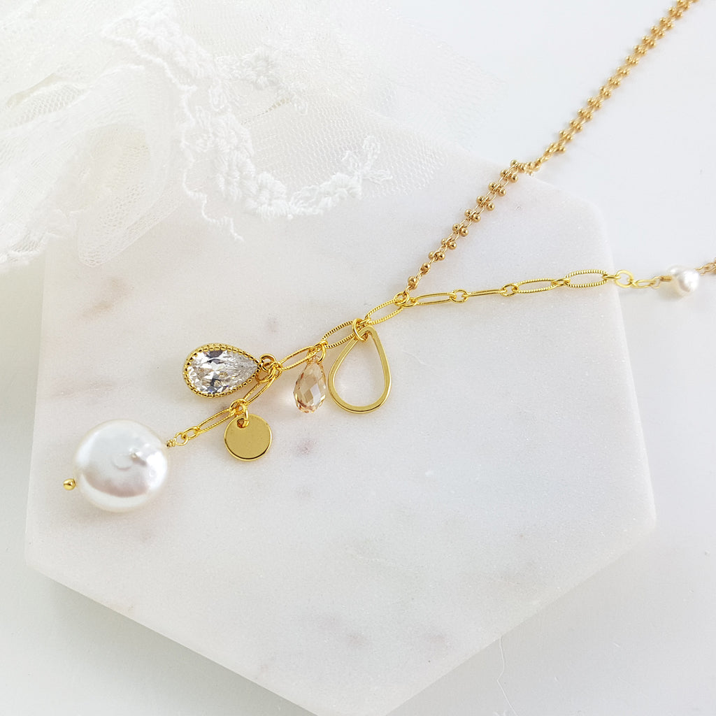 Adore Gemstone Collection - Round Pearl Charm Necklace