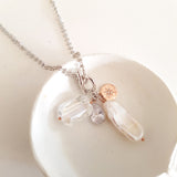 Adore Gemstone Collection - Elongated Pearl Starlight Charm Necklace
