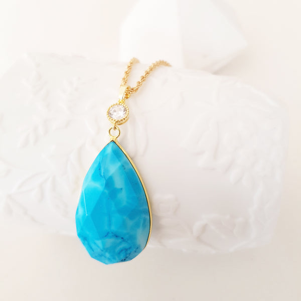 Adore Gemstone Collection - Blue Teardrop Turquoise Necklace