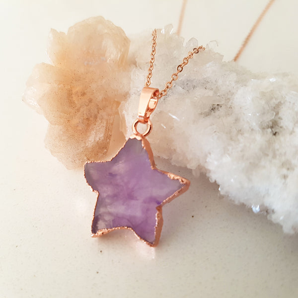 Adore Gemstone Collection - Amethyst Star Rose Gold Necklace