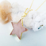 Adore Gemstone Collection - Rose Quartz Star Rose Gold Necklace