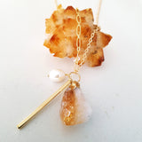 Adore Gemstone Collection - Citrine Pearl Gold Bar Necklace