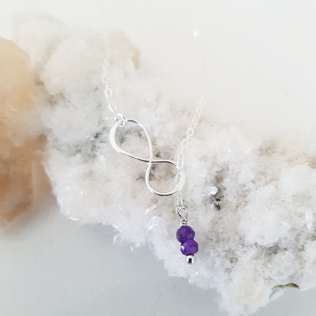 Adore Gemstone Collection - Amethyst Infinity Sterling Silver Necklace