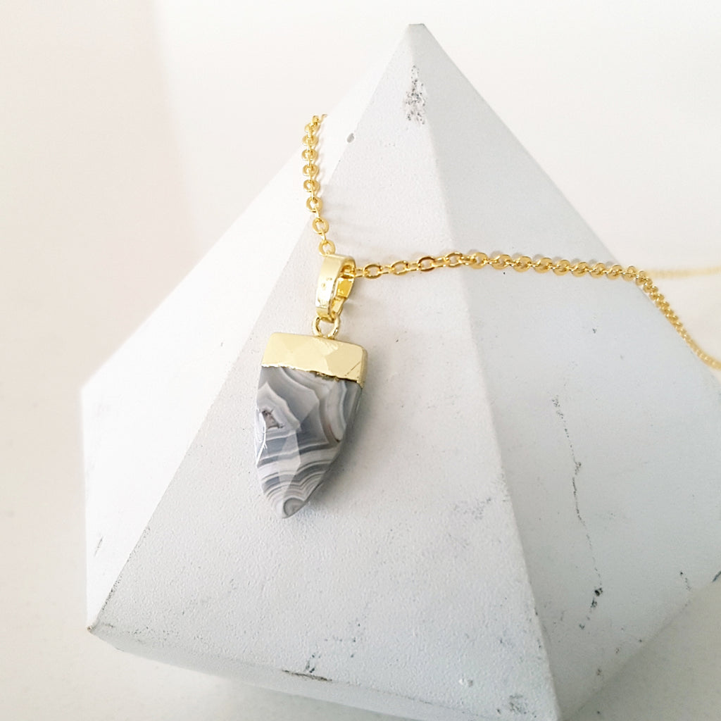 Adore Gemstone Collection - Pointed Marble Agate Necklace