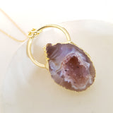 Adore Gemstone Collection - Agate Druzy Cave Band Necklace