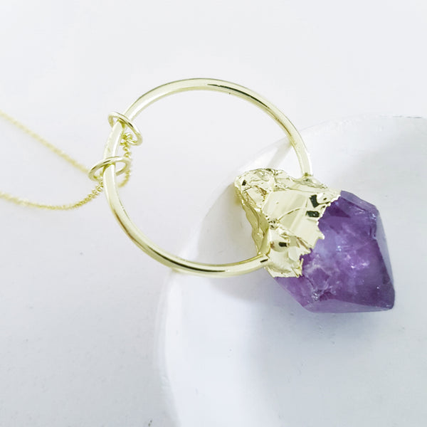 Adore Gemstone Collection - Amethyst Nugget Band Necklace