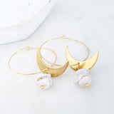 Helios Brass Collection - Irregular Pearls Crescent Loop Earrings