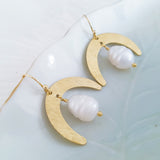 Helios Brass Collection - Freshwater Pearl Crescent Moon Earrings