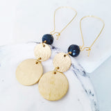 Helios Brass Collection - Faceted Black Pearl Round Discs Earrings