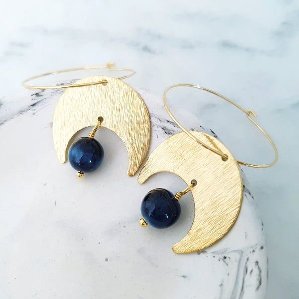 Helios Brass Collection - Blue Tiger Eye Crescent Moon Loop Earrings