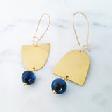 Helios Brass Collection - Blue Dumortierite Gold Arches Mismatch Earrings