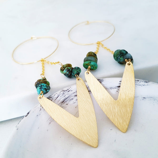 Helios Brass Collection - Turquoise Gold V Chain Loop Earrings