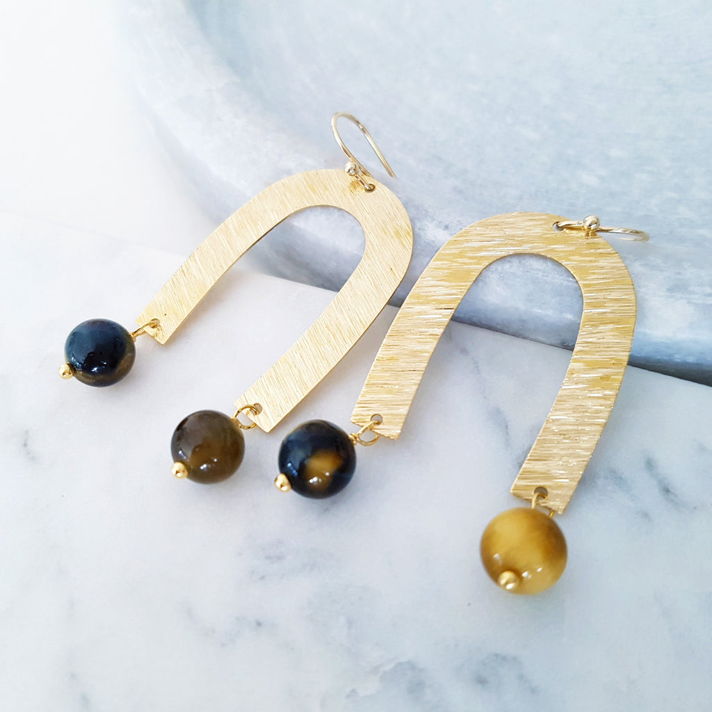 Helios Brass Collection - Black Gold Tiger Eye Open Arches Earrings