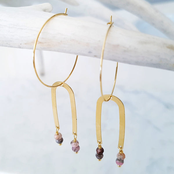 Helios Brass Collection - Black Pink Rhodonite Thin Arch Loop Earrings