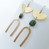 Helios Brass Collection - Turquoise Half Moon Arch Earrings