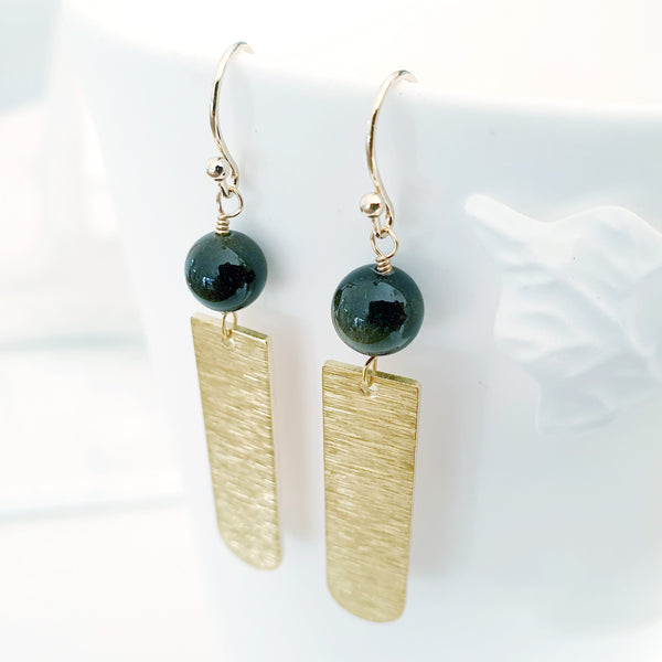 Helios Brass Collection - Gold Sheen Obsidian Round End Gold Bar Earrings